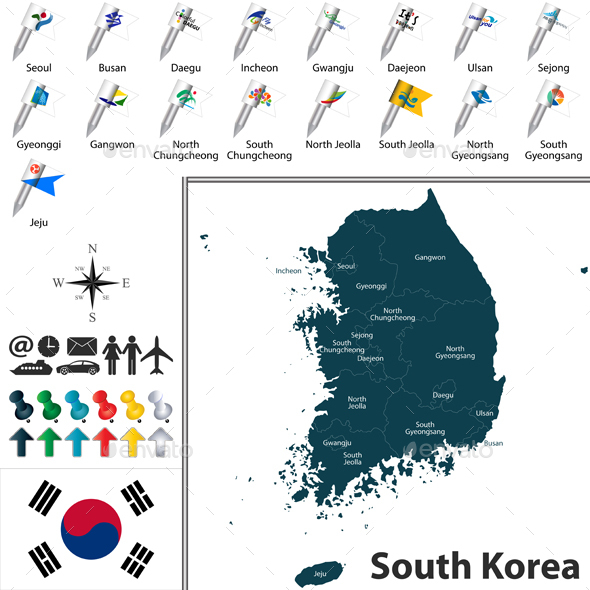 Map of South Korea with Divisions - Travel Conceptual