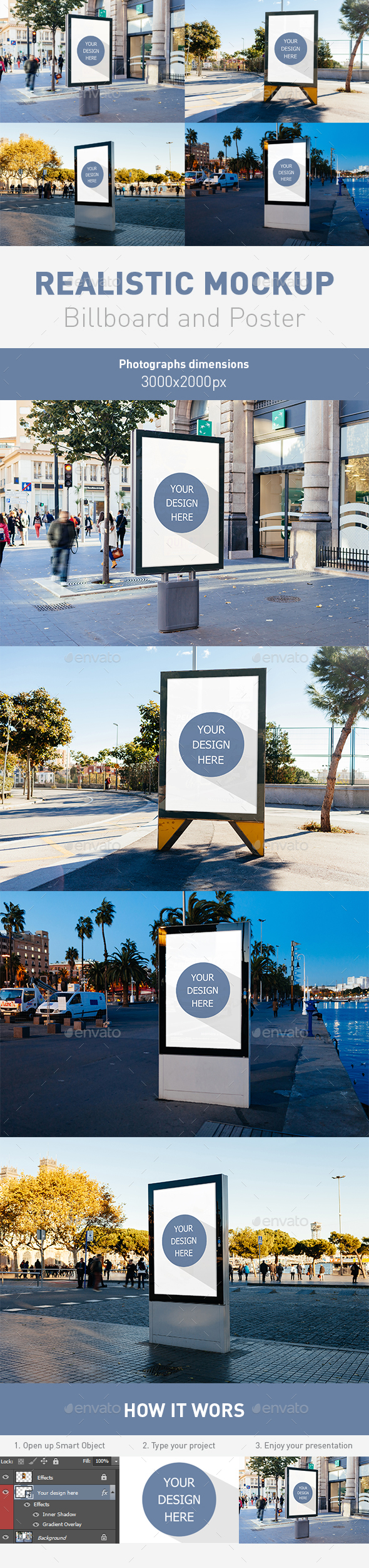 4 Realistic Billboard and Poster Mockup - Product Mock-Ups Graphics