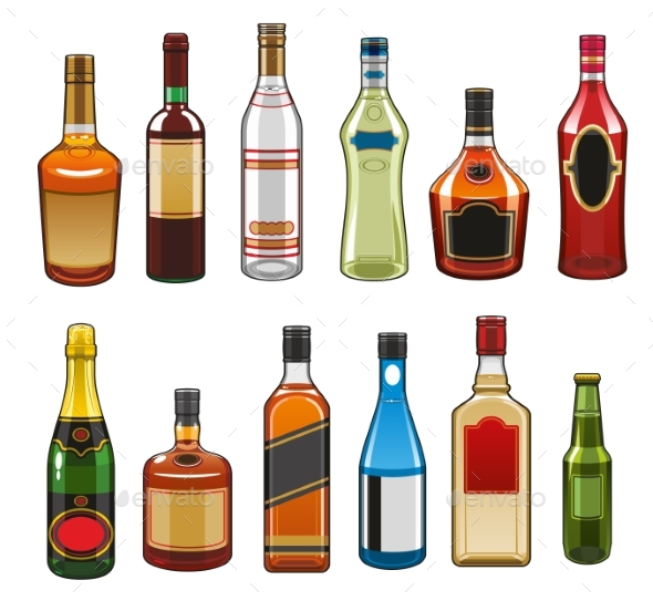 Vector Icons of Alcohol Drinks Bottles - Food Objects