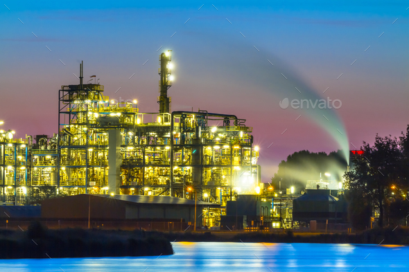 Industrial Chemical area detail at sunset - Stock Photo - Images