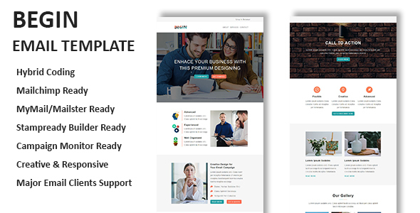 Begin - Multipurpose Responsive Email Template With Online StampReady Builder Access