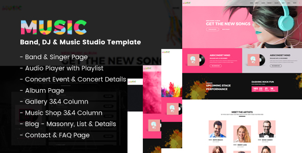 ThemeForest Music A Fresh Band DJ & Music Studio Template 20490388