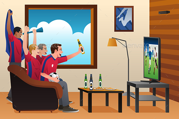 Soccer Fans Watching TV - People Characters