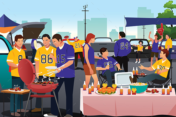 American Football Fans Having a Tailgate Party - People Characters