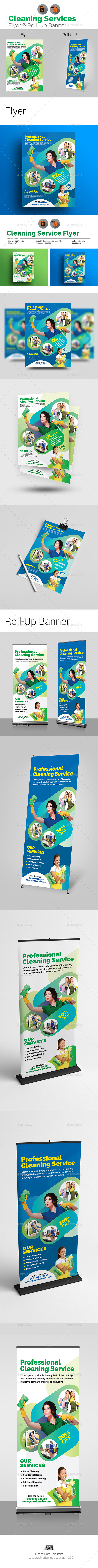 Cleaning Service Flyer & Roll-Up Bundle - Print Templates