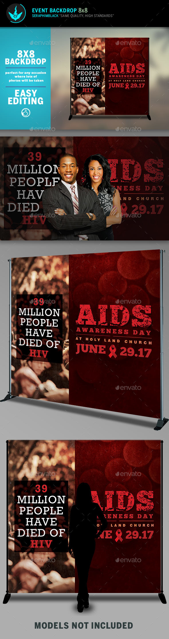 AIDS Awareness 8x8 Event  Backdrop Template - Signage Print Templates