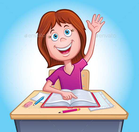Girl Raising Her Hand In Class - People Characters