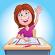 Girl Raising Her Hand In Class - GraphicRiver Item for Sale