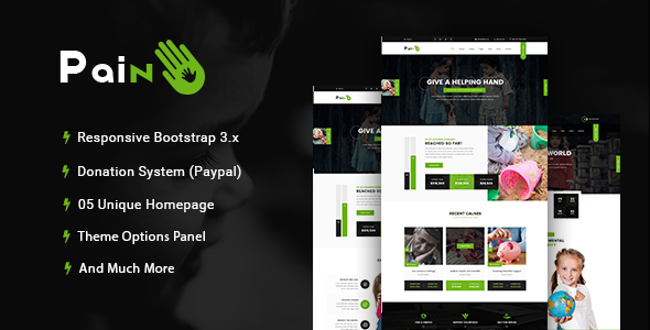 Pain - Charity & Fundraise Non-profit WordPress Theme - Charity Nonprofit