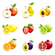 Set of Bright Fruits and Their Halves - GraphicRiver Item for Sale