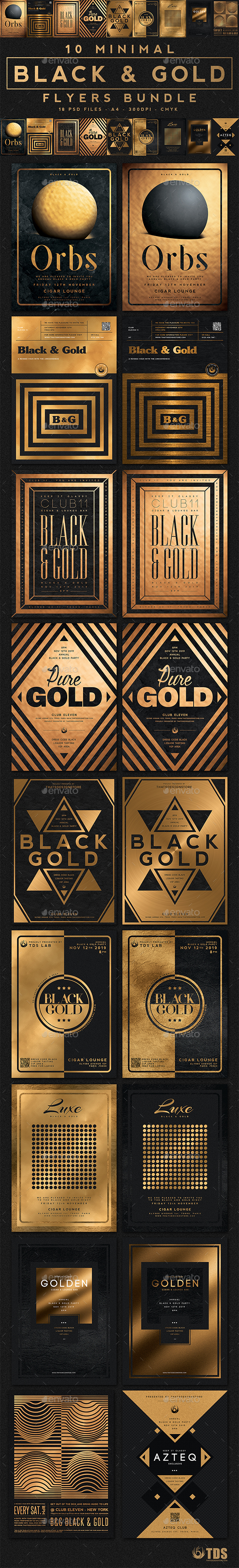 10 Minimal Black and Gold Flyers Bundle - Clubs & Parties Events