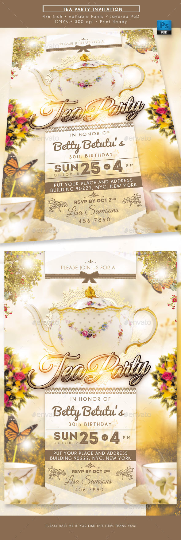 GraphicRiver Tea Party Invitation 20610633