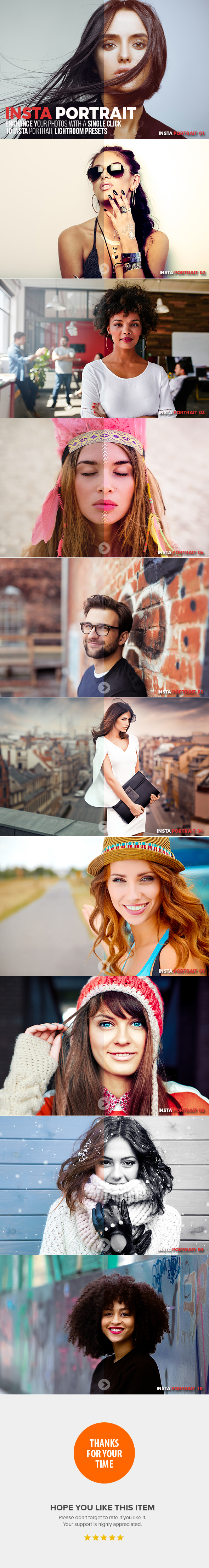 GraphicRiver 10 Insta Portrait Lightroom Presets 20610684