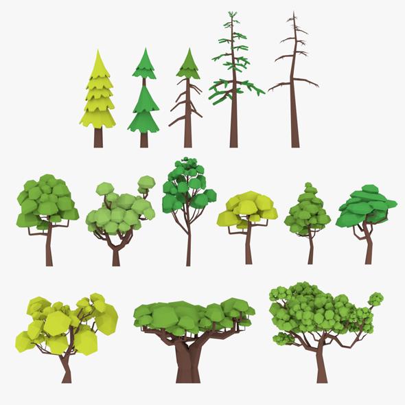 3D LowPoly Trees Pack Lite model - 3DOcean Item for Sale