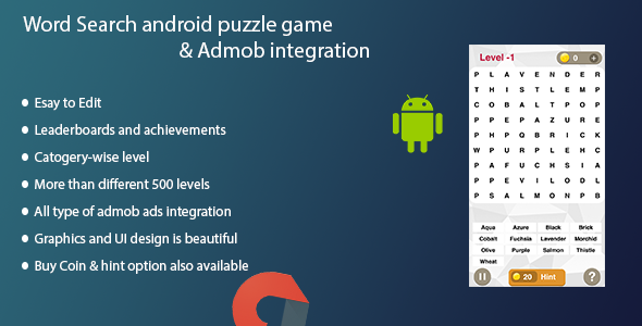 Word Search android puzzle game + Admob integration - CodeCanyon Item for Sale