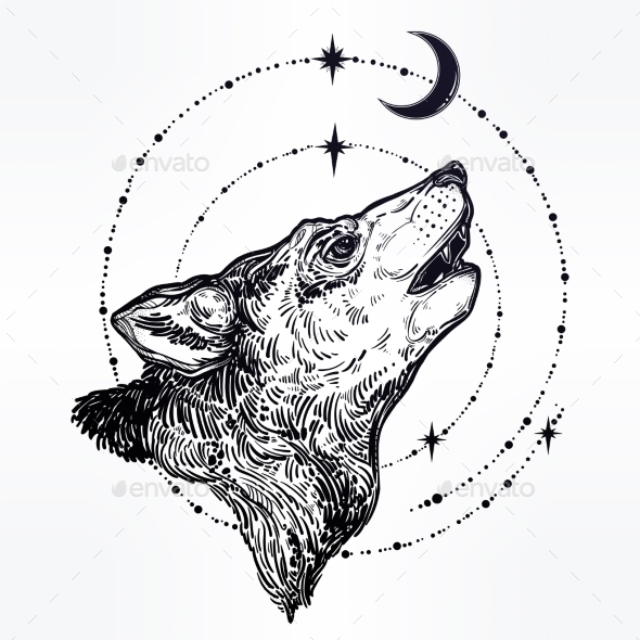 Decocrative Hand Drawn Wolf Howling at Moon. - Miscellaneous Characters