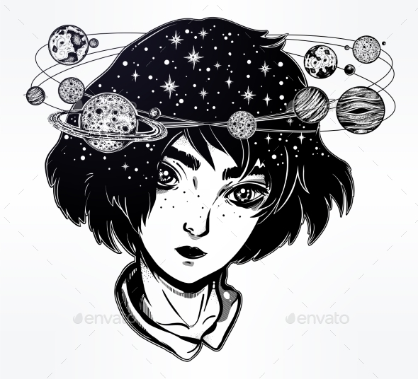 Portriat of Girl with Head Spin Halo of Planets. - People Characters