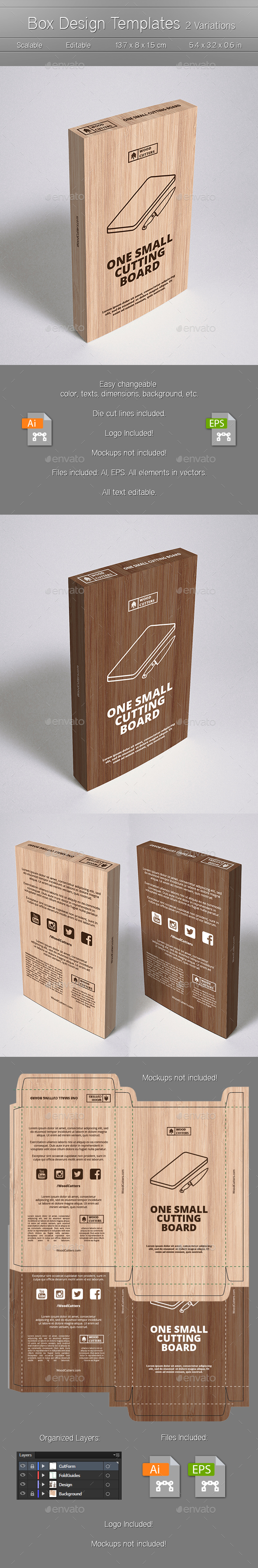 Wood Box Design Template - Packaging Print Templates