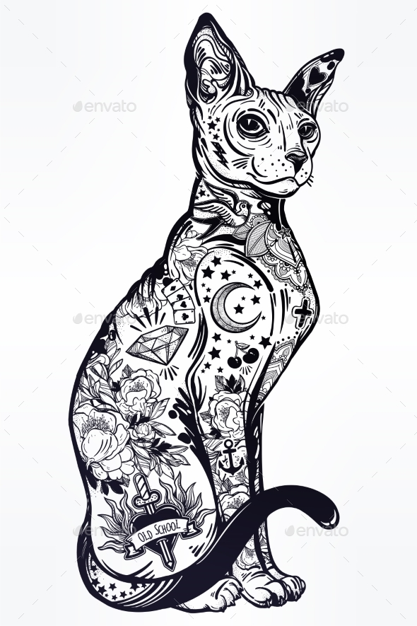Vintage Style Cat with Body Flash Art Tattoos. - Animals Characters