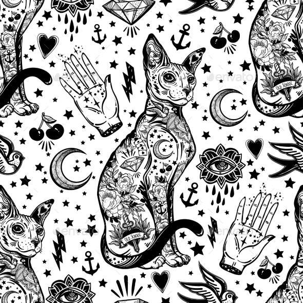 Vintage Cat Traditional Tattoo Seamless Pattern. - Backgrounds Decorative