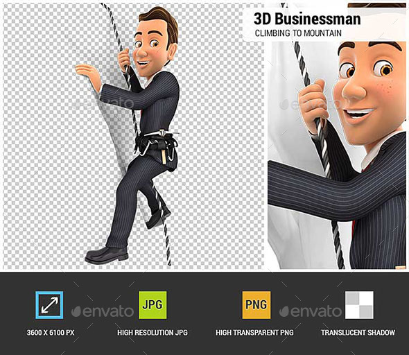 GraphicRiver 3D Businessman Climbing a Mountain 20611597