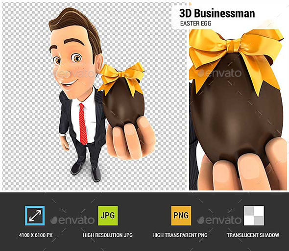 3D Businessman Holding Easter Egg - Characters 3D Renders
