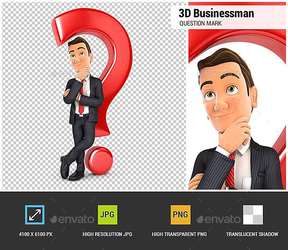 3D Businessman Leaning Back Against Question Mark - Characters 3D Renders