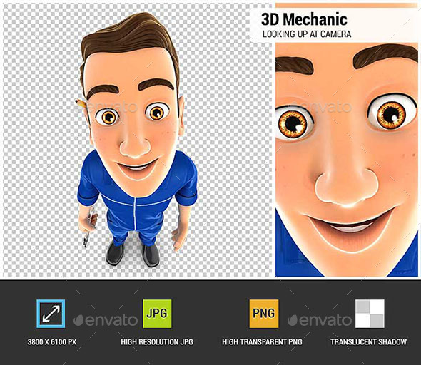 GraphicRiver 3D Mechanic Standing and Looking Up at Camera 20611611