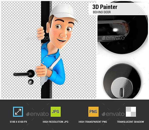 3D Painter Peeking Behind a Door - Characters 3D Renders