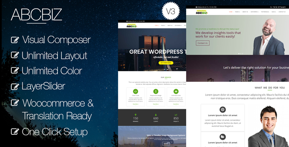 Abcbiz - Responsive WordPress Theme for Business - Business Corporate