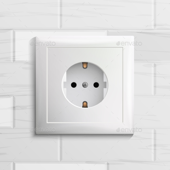 Electric Socket Vector. Plastic Standard Panel - Man-made Objects Objects