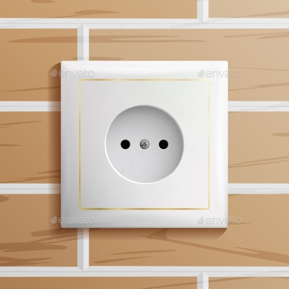 Electric Socket Vector. Modern European Plastic - Man-made Objects Objects