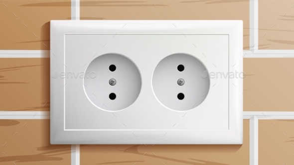 Socket Vector. Double Grounded Power Switch - Man-made Objects Objects