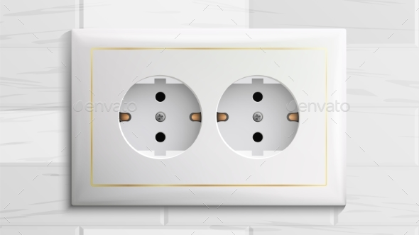 Double Grounded Socket Vector. Switch. Brick Wall - Man-made Objects Objects