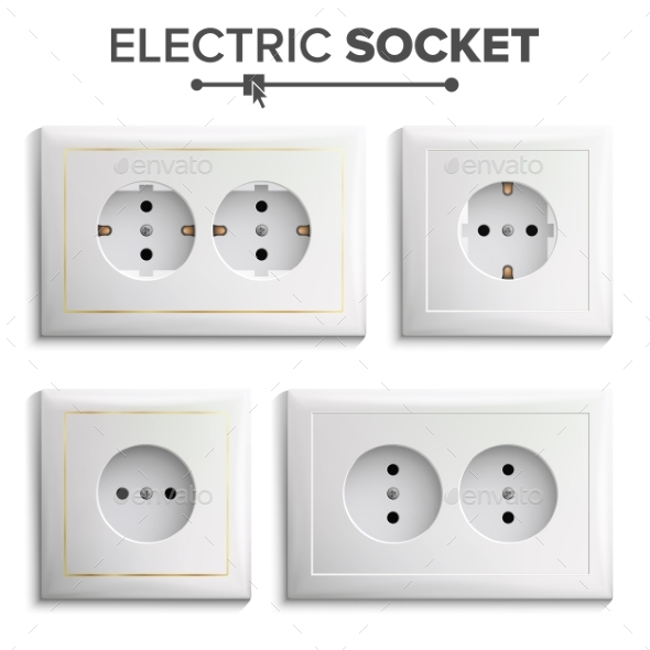 Socket Isolated Set Vector. White Double Grounded - Man-made Objects Objects