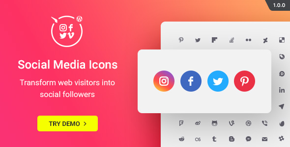 CodeCanyon WordPress Social Media Icons Social Icons Plugin 20612375
