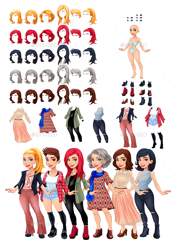 Dresses and Hairstyles Game - People Characters