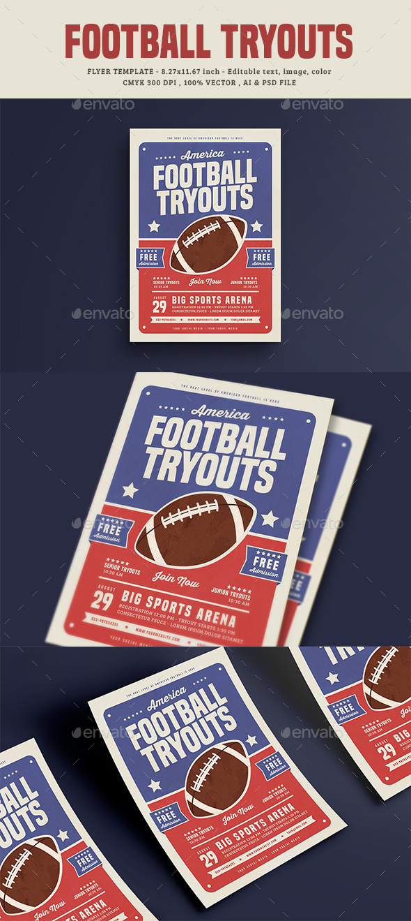 Football Tryouts Flyer - Sports Events