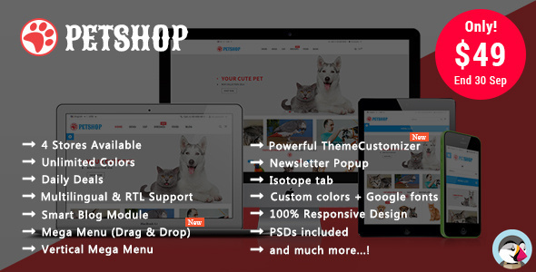 Petshop - Animal Care Responsive Prestashop 1.7 & 1.6 Theme