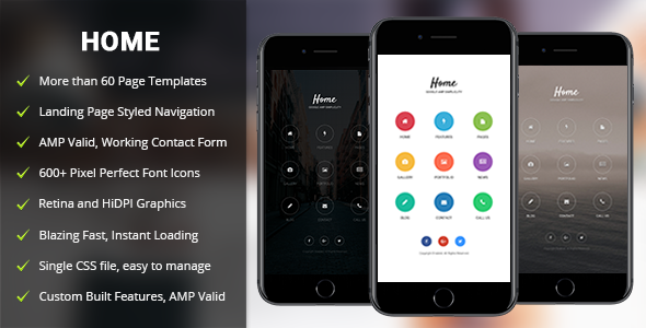 AMP Home Mobile | Mobile Google AMP Template - Mobile Site Templates