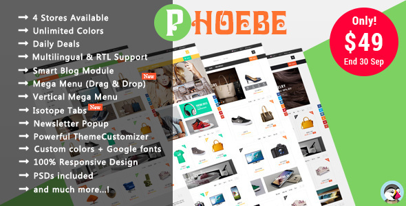 Phoebe - Shopping Cosmetic, Jewelry Responsive Prestashop Theme