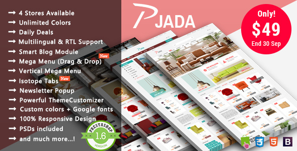 Pjada - Furniture Responsive Prestashop Theme