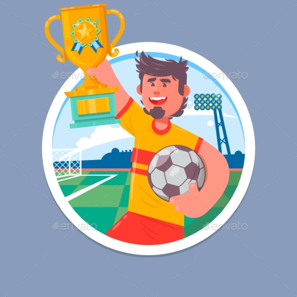 Happy Soccer Champions with Winners Cup - People Characters