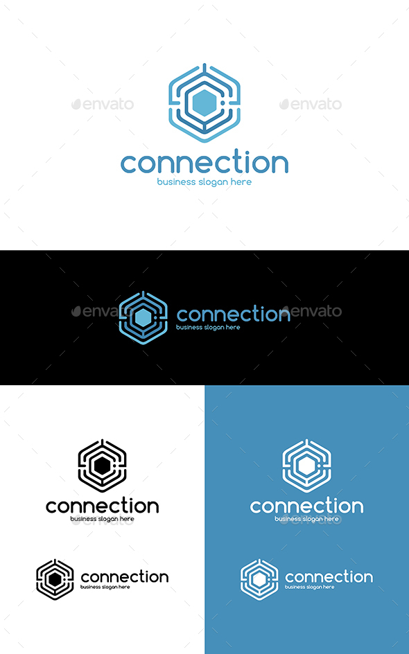 GraphicRiver Connection Hexagon Technologies Logo Letter C 20613452