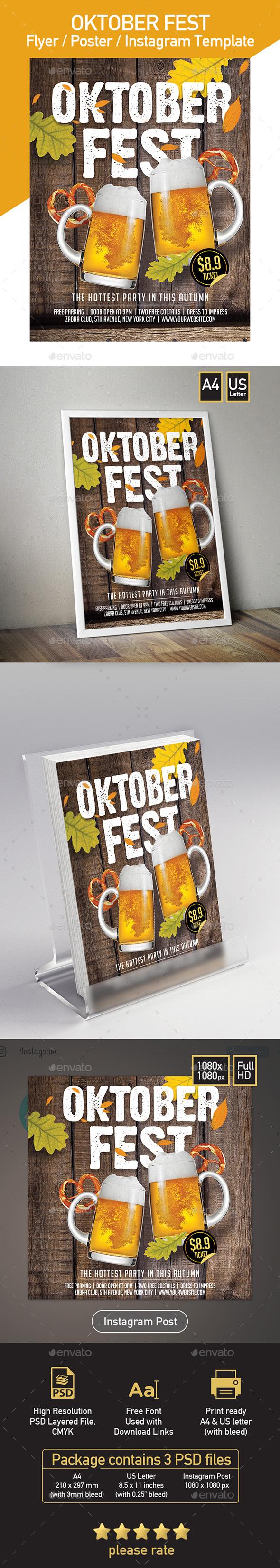 Oktorber Fest - Beer Festival - Set of 3 Template - Events Flyers