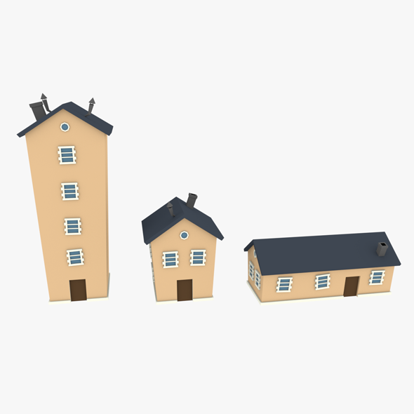 LowPoly Houses Pack 02 3D - 3DOcean Item for Sale