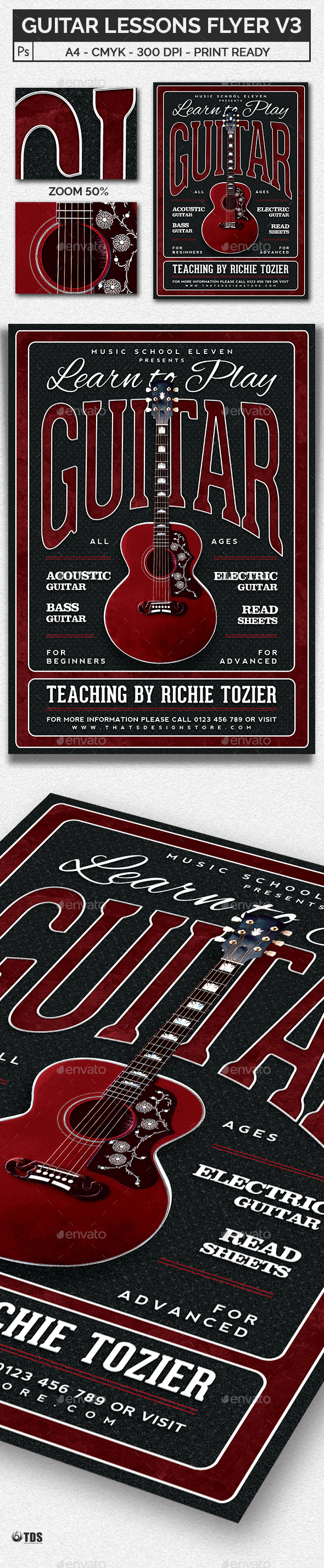 GraphicRiver Guitar Lessons Flyer Template V3 20614013