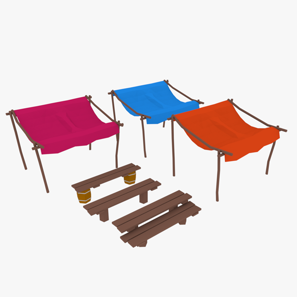 LowPoly Market Stall - 3DOcean Item for Sale