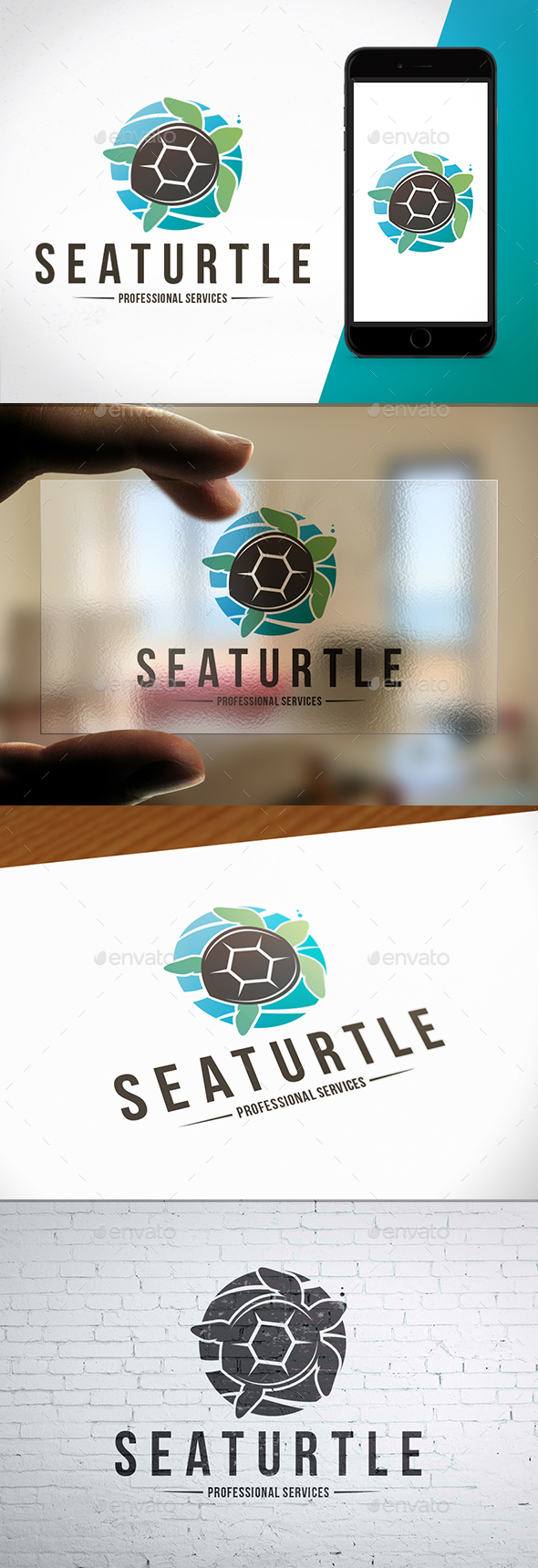 GraphicRiver Sea Turtle Colorful Logo 20614097