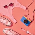 Summer Hipster Girl Set. Fashion Design, Minimal
